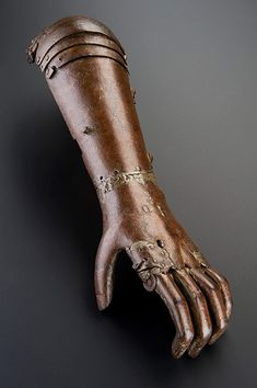 Credit: Science Museum, London An early example of prosthetics: an artificial arm made of iron, from around 1560-1600. Arround this time, prosthetic arms were often fitted to knights so they could hold up shields in battle, rather than to assist in everyday life