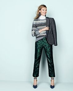 J.Crew women's Campbell blazer in sparkle, sequin Fair Isle sweater, tissue turtleneck T-shirt, patio pant in evergreen jacquard, midnight crystal chandelier earrings and Roxie suede and satin ankle-strap pumps. To pre-order, call 800 261 7422 or email verypersonalstylist@jcrew.com.