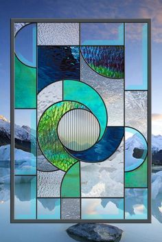 Stained Glass Window Panel Winter Solace Abstract Panel                                                                                                                                                     More