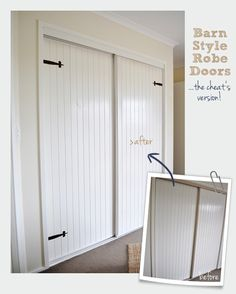 The Painted Hive way to make faux barn doors on existing closet sliders!