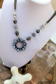 Vintage Blue Rhinestone and Pearls~