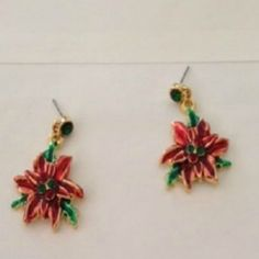 Poinsettia Earrings Dangle  Hand Painted Green Red Austrian Crystals Christmas #DavenportDesigns #DropDangle