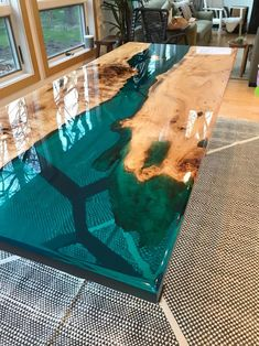 Wood resin table Turquoise resin river dining table image 1 Probably the most common brewing method Epoxy Table Top, Epoxy Wood Table, Bancada Epoxy, Table Turquoise, Blue Dining Tables, Resin Countertops, Wood Table Design, Resin Furniture, Furniture Design