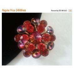 Now On Sale Bright Orange Rhinestone Brooch, 1950's 1960's Jewelry,... ($35) ❤ liked on Polyvore featuring jewelry and brooches