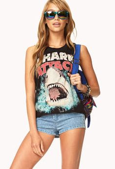 ShopStyle.co.uk: FOREVER 21 Shark Attack Muscle Tee £9.00
