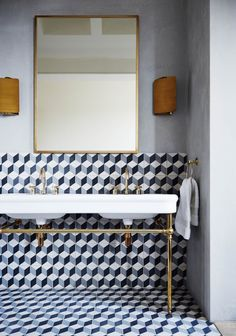 Bathroom with Geometric Tiles in Modern Bathroom Ideas. A modern bathroom with geometric tiles in a white, yellow and blue colour scheme. Bad Inspiration, Bathroom Inspiration, Interior Inspiration, Bathroom Ideas, Bathroom Sinks, Tile Bathrooms, Bathroom Makeovers, Bathroom Cabinets, Bathroom Wall