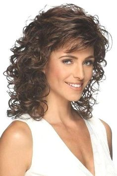 Shoulder length layered wig with spiral curls. Features include super thin and resilient dual elastic sides and an all open-stretch cap construction.Length: Bang Side Crown Nape Size: Average Color Shown: Colors: Curly Hair With Bangs, Curly Hair Cuts, Curly Bob Hairstyles, Short Curly Hair, Hairstyles With Bangs, Wavy Hair, Curly Hair Styles, Medium Length Curly Hairstyles, Wedding Hairstyles