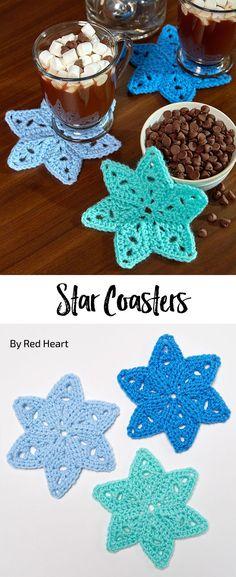Star Coasters free crochet pattern in Super Saver. Star Coasters free crochet pattern in Super Saver. Crochet Hook Set, Crochet Stars, Love Crochet, Crochet Motif, Crochet Doilies, Easy Crochet, Thread Crochet, Crochet Puff Flower, Crochet Flower Patterns
