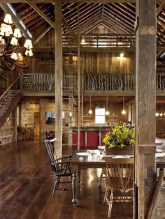 German-style Bank Barn Conversion - rustic - dining room - cleveland - by Blackburn Architects, PC Cabin Homes, Log Homes, Converted Barn Homes, Barn Style House Plans, Bank Barn, Barn Renovation, Design Apartment, Apartment Plans, Barn Apartment