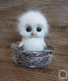 Needle felted baby owl by Chegaydina Antonina.