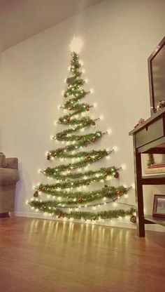 Easy Christmas Decor From simple to amazing Notable tips and tricks to form a fun and charming simple christmas decor diy xmas trees . Xmas image provided on this day 20190114 , exciting post reference 3707337813 Wall Christmas Tree, Noel Christmas, Xmas Trees, Diy Christmas Wall Decor, Tinsel Tree, Outdoor Christmas, Christmas Projects, Christmas Tree Made Of Lights, Christmas Tree Simple