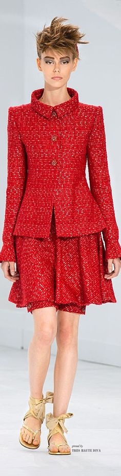 Chanel ~ Haute Couture Red Tweed Skirt Suit Fall 2014: