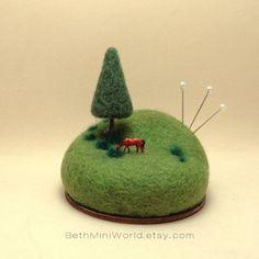 Miniature Scene with horse in a green landscape