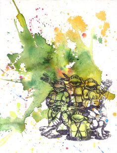 Teenage Mutant Ninja Turtles Art Print From Original by idillard, $18.00