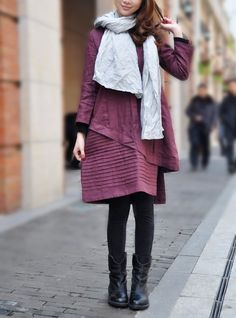 Layered Pleated Linen Dress in Purple/ Winter Dress Gown - Made to order. $72.00, via Etsy.