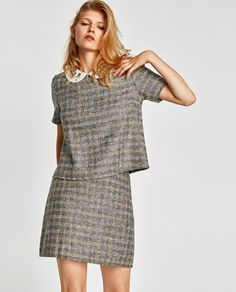 Discover the new ZARA collection online. Zara, Tweed Skirt, Tartan Plaid, Winter Wardrobe, Skort, New Trends, Peplum Dress, Style Me, Floral Prints