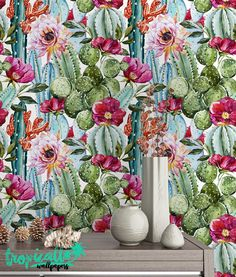 Cactus Peel /& Stick Wallpaper Floral Temporary Wall Decor Exotic Pink Flowers Self Adhesive Wall Mural Green Botanical Removable Decal