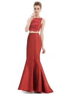 Ever-Pretty Sexy Red Fashion Two Pieces Set Long Mermaid Dress  #everpretty #mermaid #fashion #dress