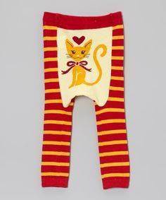 Love this Doodle Pants Red & Yellow Stripe Cat Leggings - Infant by Doodle Pants on #zulily! #zulilyfinds