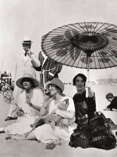 Gabrielle 'Coco' Chanel, Misia Sert and Mme Philippe Berthelot on the beach at the Lido in Venice - 1925