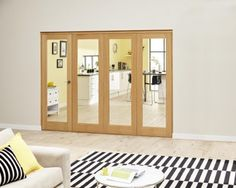 Glazed Oak Roomfold Deluxe - Clear: Unfinished Internal Folding Door Image