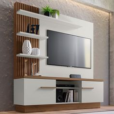 Home theaters rooms Estante para Home Theater e TV at 55 Polegadas Itaipu Off White e Nogueira Home Room Design, Tv Wall Design, Living Room Tv Unit Designs, Tv Unit Interior Design, Room Design, Wall Tv Unit Design, Bedroom Furniture Design, Living Room Partition Design, Living Room Design Modern