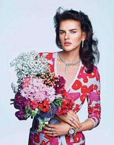 """Gems and Flowers"" Dorota Kulkova for Marie Claire France June 2015"