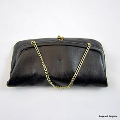 ANDE Simple Soft Black Genuine Leather Clutch Goldtone Chain for Handbag LOVELY