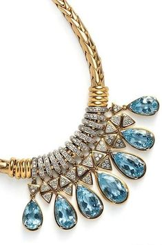 Aquamarine, and Diamond Necklace