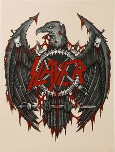 SLAYER Angel of Death by Dan Lerner Limited Screenprint 'Angel of Death' by Dan Lerner. 3 color screen print poster on French Speckletone Natural paper. Limited edition of Printed by Lady Lazarus. Heavy Metal Rock, Heavy Metal Music, Heavy Metal Bands, Metal Music Bands, Metal Band Logos, Music Artwork, Metal Artwork, Slayer Tattoo, Arte Punk