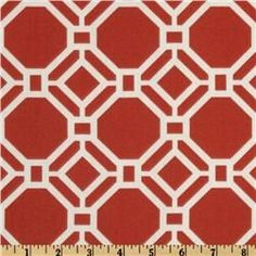 Fabric for the playroom benches-Swavelle/Mill Creek Indoor/Outdoor Rossmere Poppy Playroom Bench, Playroom Ideas, Nursery Ideas, Outdoor Fabric, Indoor Outdoor, Geometric Fabric, Mill Creek, Orange Background, Outdoor Settings