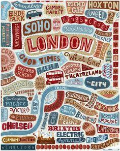 Une illustration absolument géniale ou typographie et dessin se mêlent pour former un plan de Londres