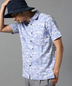 BLISS POINT Mens(ブリスポイント メンズ)のシャドージャガードシャツ半袖/565830(シャツ/ブラウス) ライトブルー