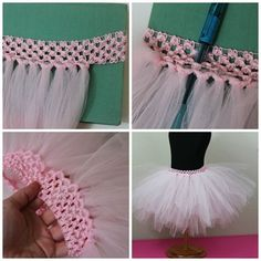 How to make a simple no-sew tutu using a crochet headband and tulle.