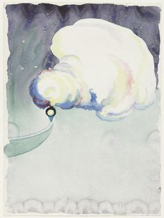 Georgia O'Keeffe (1887-1986), Train at Night in the Desert, 1916. watercolor and pencil on paper, 11 7/8 x 8 7/8 inches
