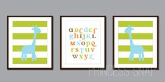 INSTANT DOWNLOAD - Giraffe Teal and Green ABC set of 3 each Boy Girl Safari more colors available on Etsy, $6.69 AUD