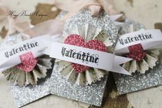 Valentine Gift Tags Card Vintage Paper Rosette by HoggBarnAntiques