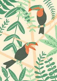 """This toucan print is now available to buy in my etsy shop! And I'm offering a whopping great big discount this weekend! Just use the code """"EGGCELLENT"""" to get 20% off all prints . Valid till Tuesday the 22nd of April. Enjoy!"""