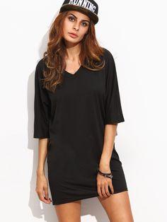 Black Half Sleeve T-shirt Dress -SheIn(Sheinside)