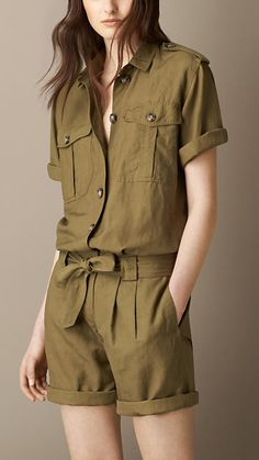 Burberry Yellow Olive Silk Linen Utility Playsuit - A relaxed short-sleeved utility playsuit crafted from a linen and silk blend. Cool Outfits, Summer Outfits, Casual Outfits, Girl Fashion, Fashion Outfits, Womens Fashion, Gothic Fashion, Army Look, Burberry