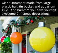 Giant Ball Ornaments...these are the BEST DIY Christmas Decorations & Craft…