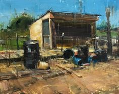 """""""Chicken Coop"""" 11""""x14"""" oil on panel. I have a one man show opening this Saturday. Check it out by clicking the link on my profile.  #artist #instaartist #stradaeasel #pleinairpainting #fineart #chickencoop #oilpainting #realism #painterly #contemporaryart #artforsale #impressionism #utah #onemanstrashisanothermanstreasure"""