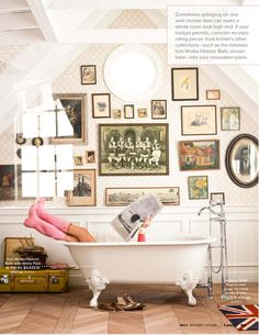always wanted one wall with mismatched art and photos that really worked together and also told a story