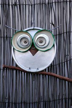 owl...made out of metal/tin (cake pan, jar lids, bottletops, screws, etc.)