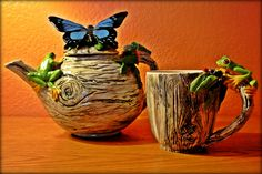 Sculpted Teapot & Mug with handmade tree branch handles, Butterfly,frogs, ladybugs and foliage. By Tanya Bechara @ Hop'n Frog Pottery