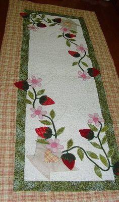 Strawberries & Flowers Table Runner