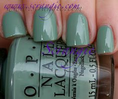 OPI Thanks A WindMillion. This one is a dirty seafoam creme. Kinda like a mix between OPI Mermaid's Tears and OPI Stranger Tides. Opi Gel Polish, Green Nail Polish, Gel Polish Colors, Nail Polish Art, Opi Nails, Green Nails, Nail Colors, Manicure, Mani Pedi