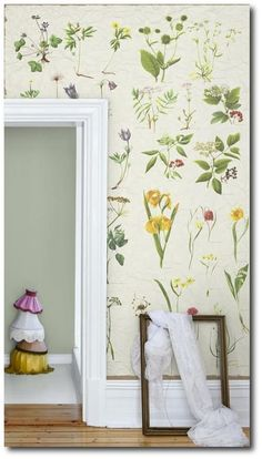Mr Perswall Sverige botanical wallpaper adds an interesting touch to your living space