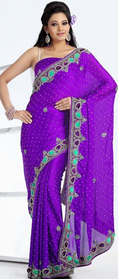 #Purple Chiffon #Party Wear #Saree Blouse | @ $171.97