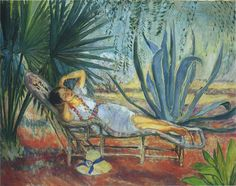 Marthe in a lounge at St Tropez | Henri Lebasque | oil painting